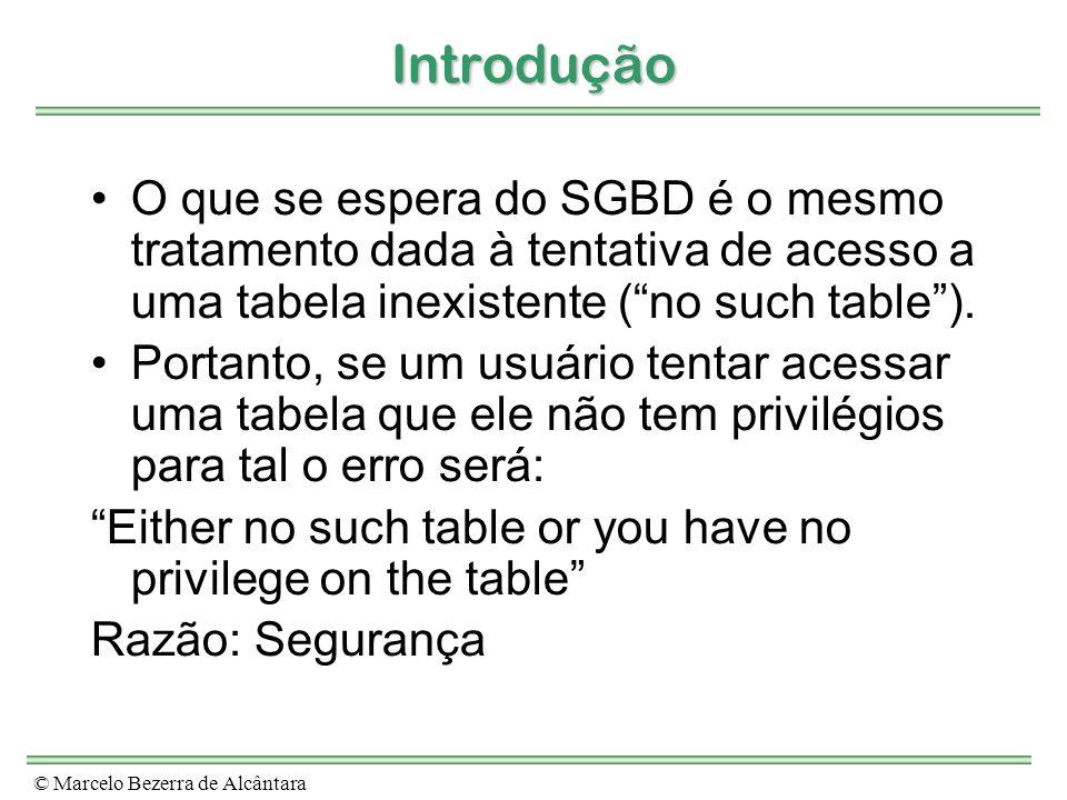Introdução O que se espera do SGBD é o mesmo tratamento dada à tentativa de acesso a uma tabela inexistente ( no such table ).