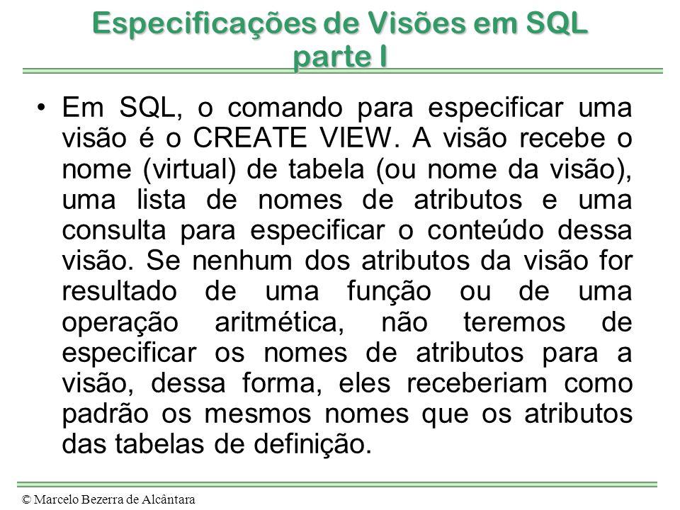 Especificações de Visões em SQL parte I