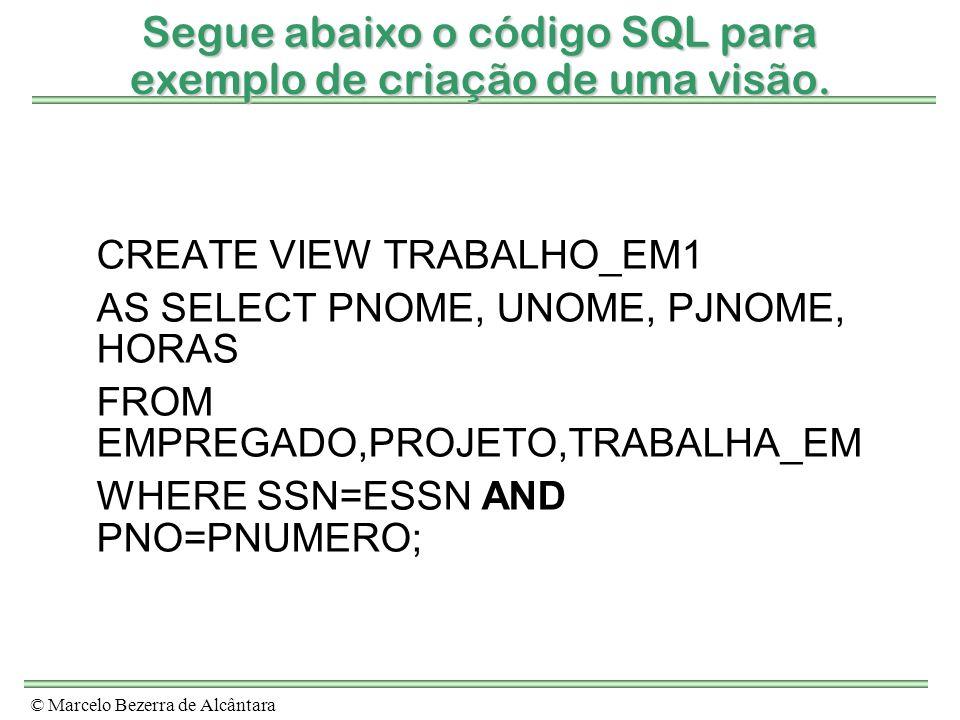 Segue abaixo o código SQL para exemplo de criação de uma visão.