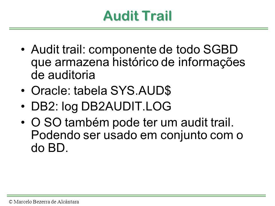 Audit TrailAudit trail: componente de todo SGBD que armazena histórico de informações de auditoria.