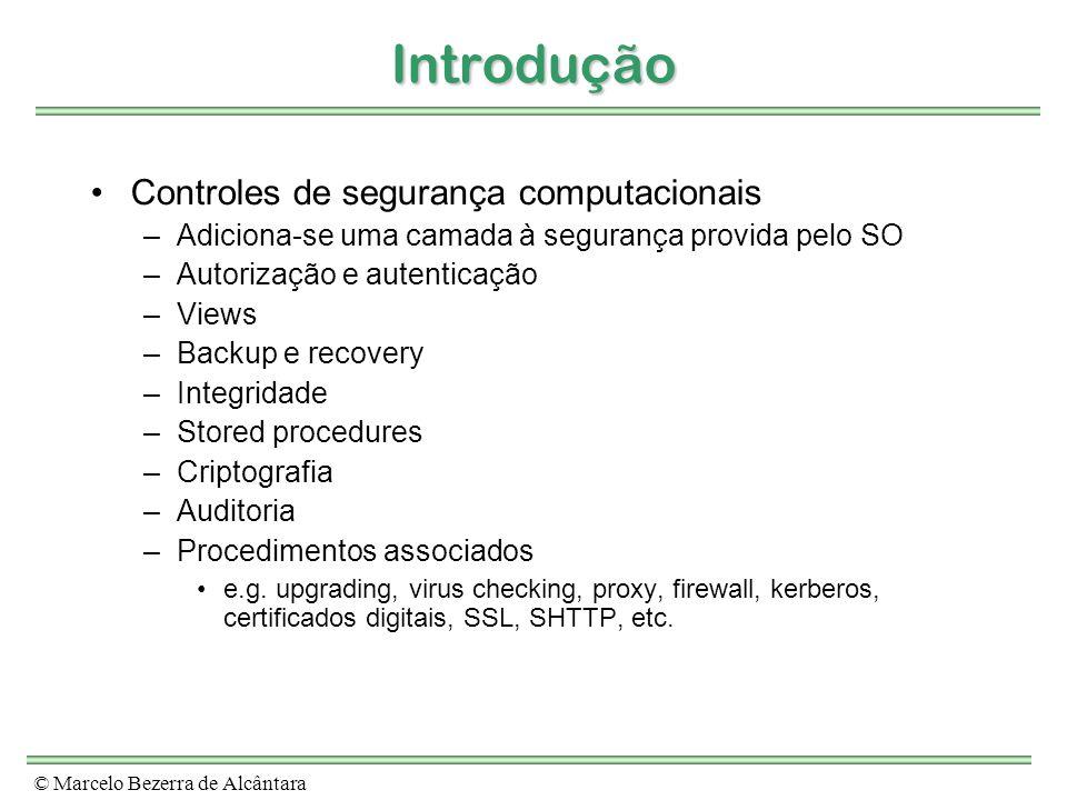Introdução Controles de segurança computacionais