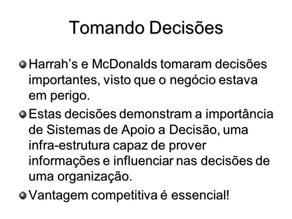 Tomando Decisões Harrah's e McDonalds tomaram decisões importantes, visto que o negócio estava em perigo.