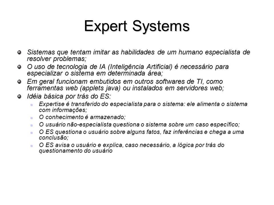 Expert Systems Sistemas que tentam imitar as habilidades de um humano especialista de resolver problemas;