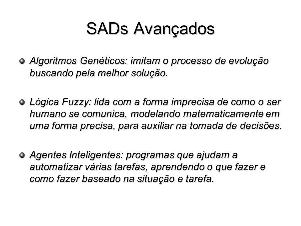 SADs Avançados Algoritmos Genéticos: imitam o processo de evolução buscando pela melhor solução.