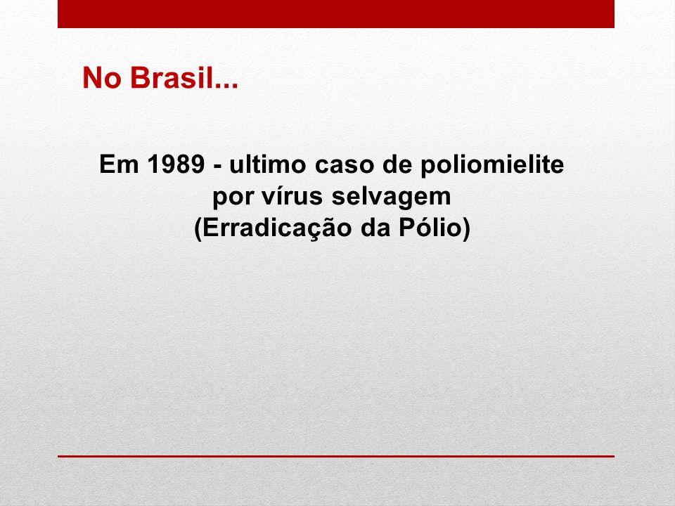 No Brasil... Em 1989 - ultimo caso de poliomielite por vírus selvagem