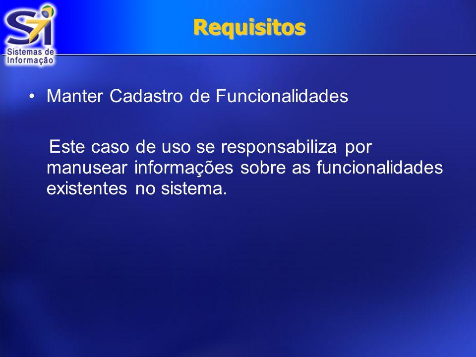 Requisitos Manter Cadastro de Funcionalidades