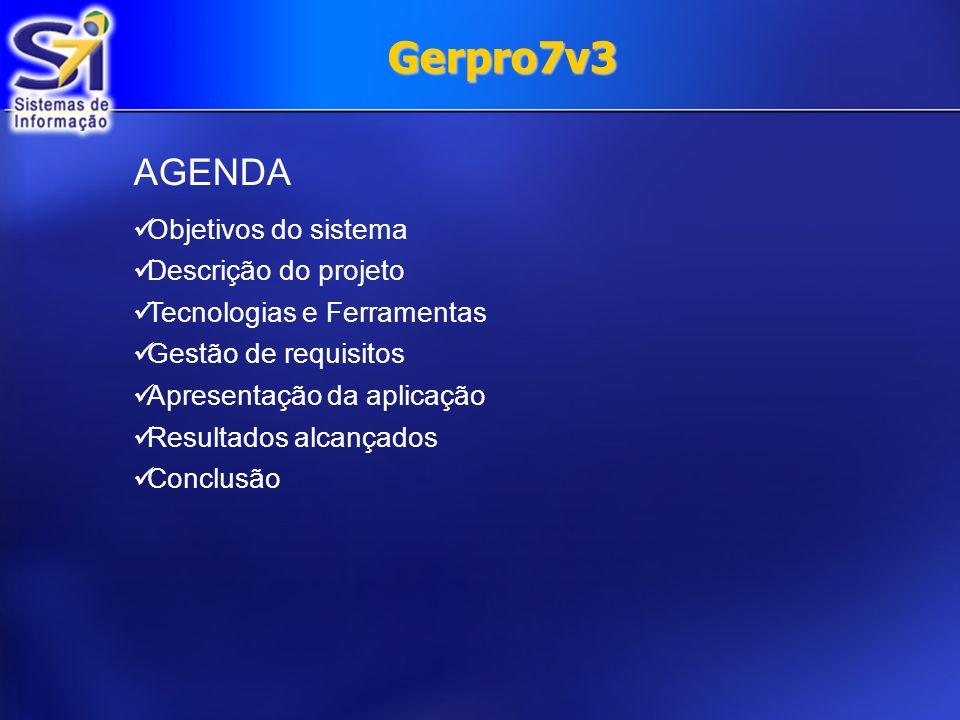 Gerpro7v3 AGENDA Objetivos do sistema Descrição do projeto