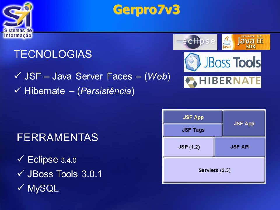 Gerpro7v3 TECNOLOGIAS FERRAMENTAS JSF – Java Server Faces – (Web)