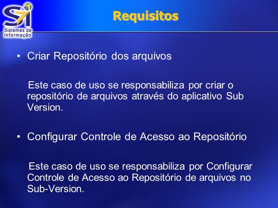 Requisitos Criar Repositório dos arquivos