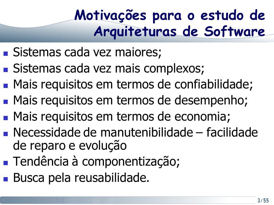 Motivações para o estudo de Arquiteturas de Software