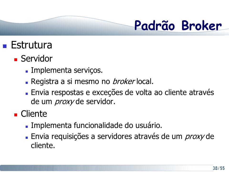 Padrão Broker Estrutura Servidor Cliente Implementa serviços.