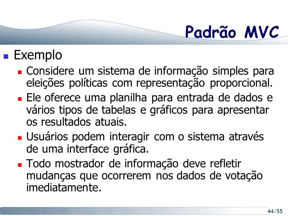 Padrão MVC Exemplo. Considere um sistema de informação simples para eleições políticas com representação proporcional.