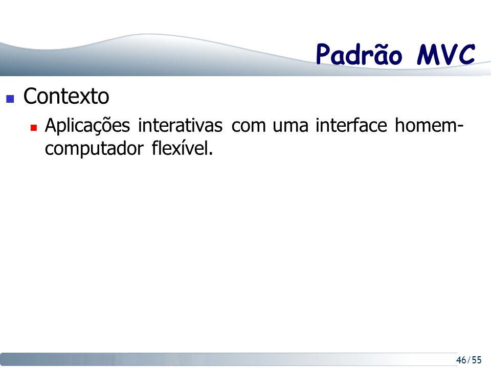 Padrão MVC Contexto Aplicações interativas com uma interface homem-computador flexível.