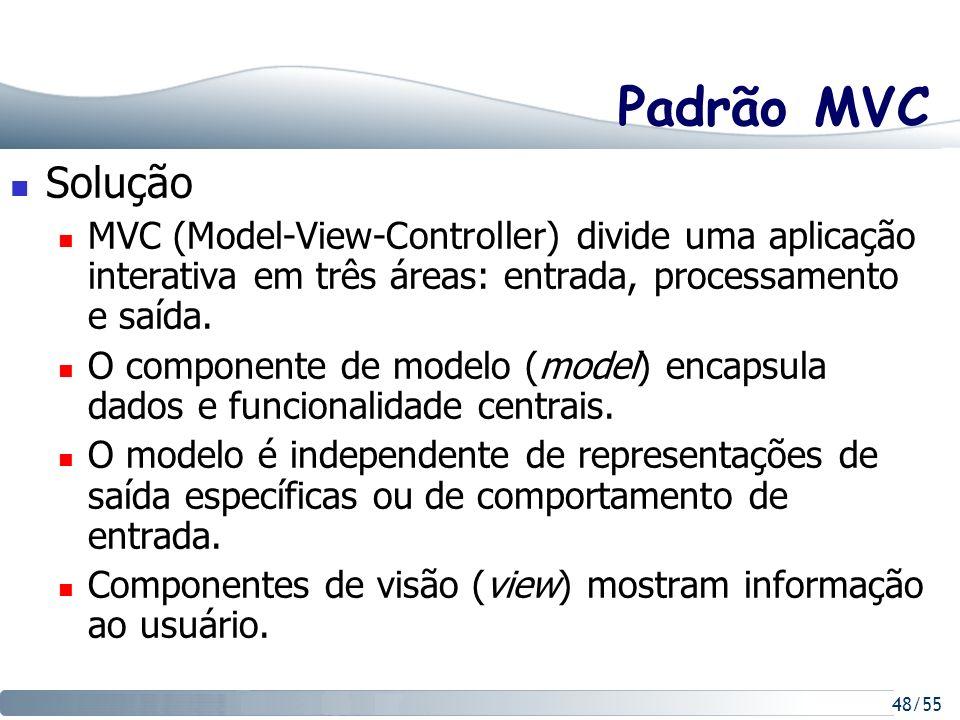 Padrão MVC Solução. MVC (Model-View-Controller) divide uma aplicação interativa em três áreas: entrada, processamento e saída.
