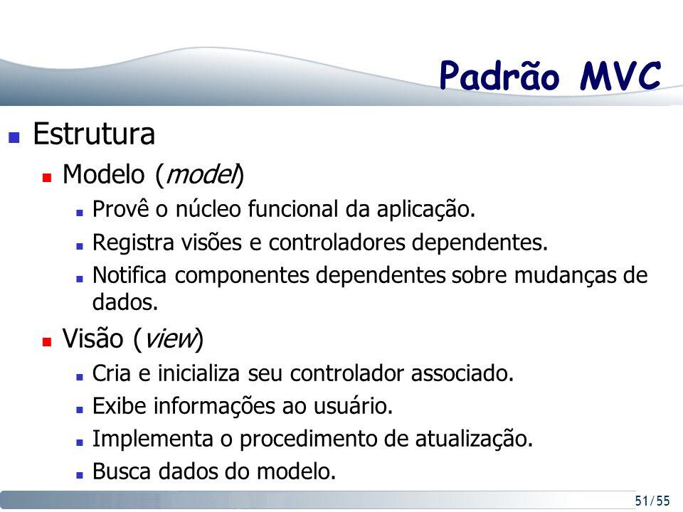 Padrão MVC Estrutura Modelo (model) Visão (view)