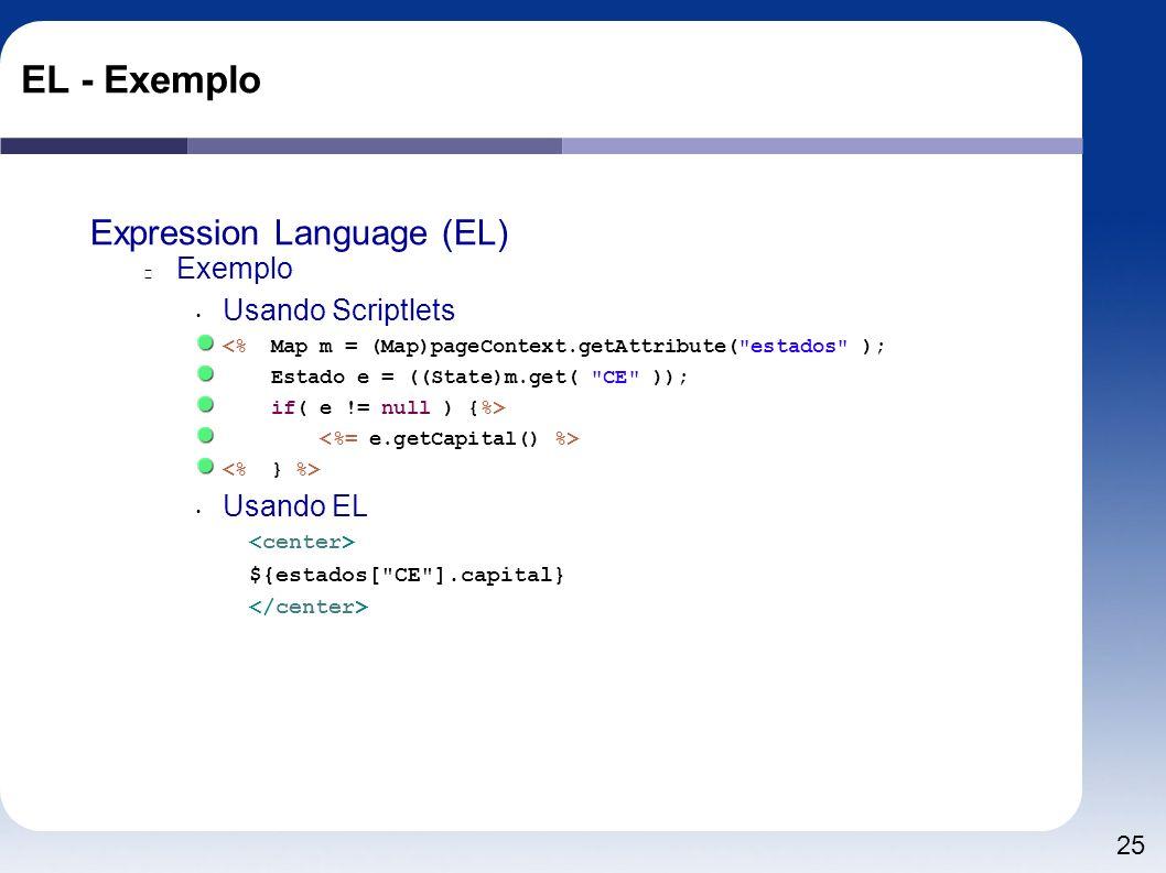 EL - Exemplo Expression Language (EL) Exemplo Usando Scriptlets