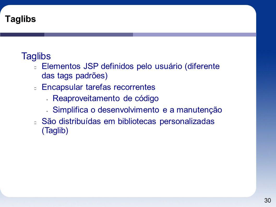 Taglibs Taglibs. Elementos JSP definidos pelo usuário (diferente das tags padrões) Encapsular tarefas recorrentes.
