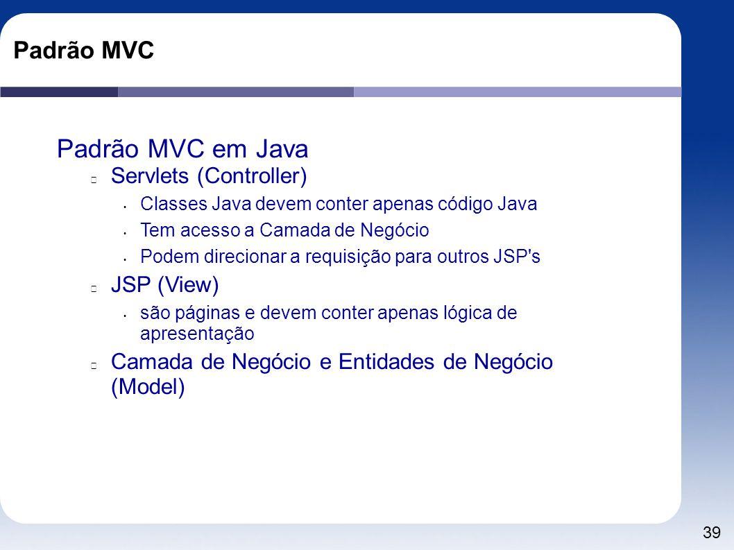 Padrão MVC em Java Padrão MVC Servlets (Controller) JSP (View)