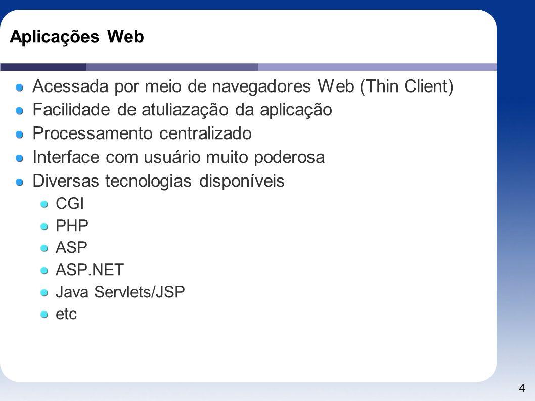 Acessada por meio de navegadores Web (Thin Client)
