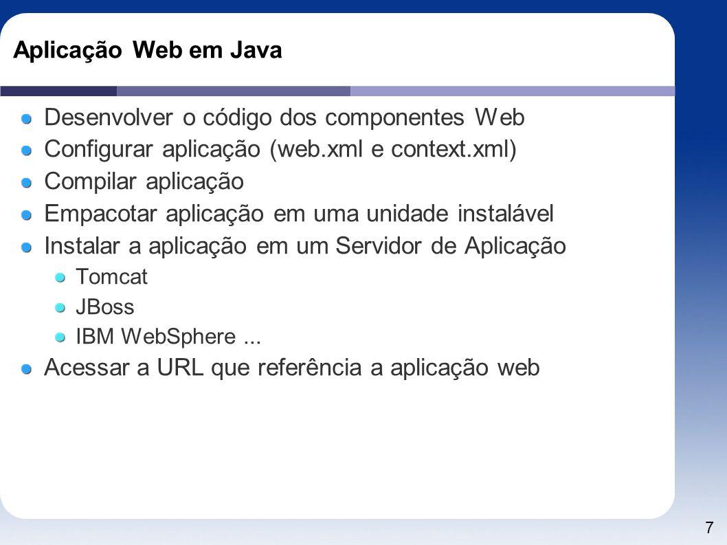 Desenvolver o código dos componentes Web
