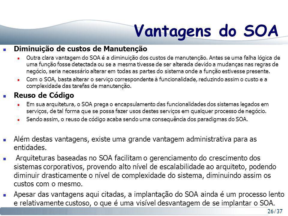 Vantagens do SOA Diminuição de custos de Manutenção Reuso de Código