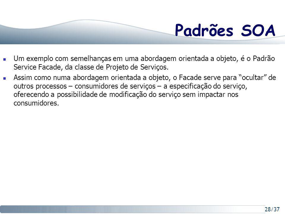 Padrões SOA Um exemplo com semelhanças em uma abordagem orientada a objeto, é o Padrão Service Facade, da classe de Projeto de Serviços.