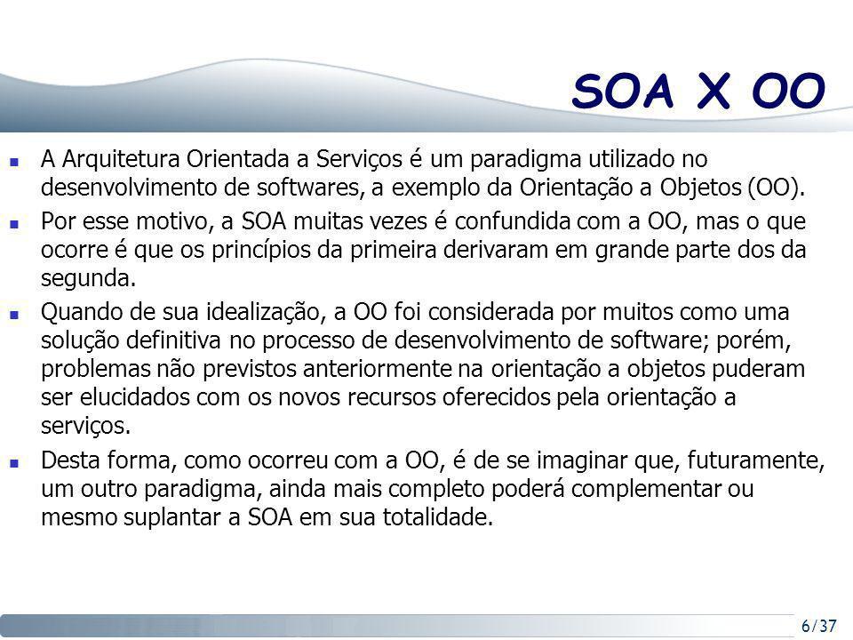SOA X OO A Arquitetura Orientada a Serviços é um paradigma utilizado no desenvolvimento de softwares, a exemplo da Orientação a Objetos (OO).