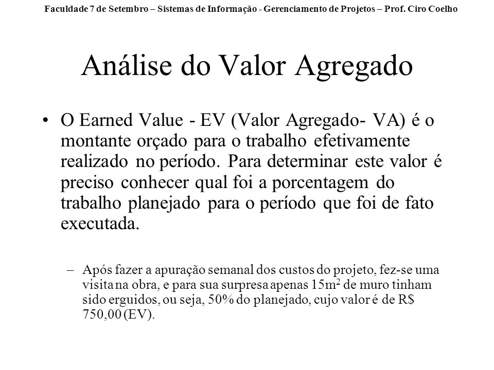 Análise do Valor Agregado