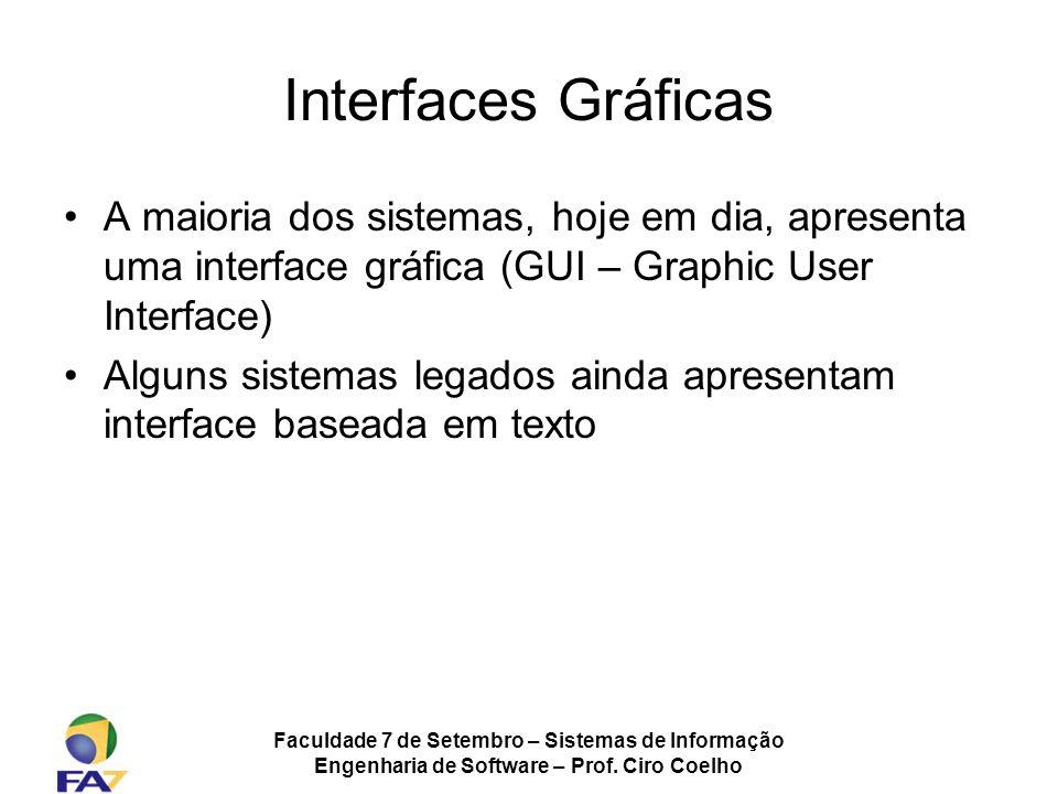 Interfaces Gráficas A maioria dos sistemas, hoje em dia, apresenta uma interface gráfica (GUI – Graphic User Interface)