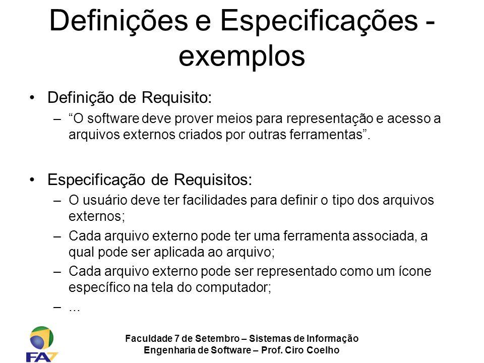 Definições e Especificações - exemplos