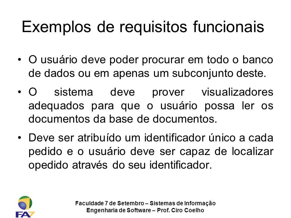 Exemplos de requisitos funcionais