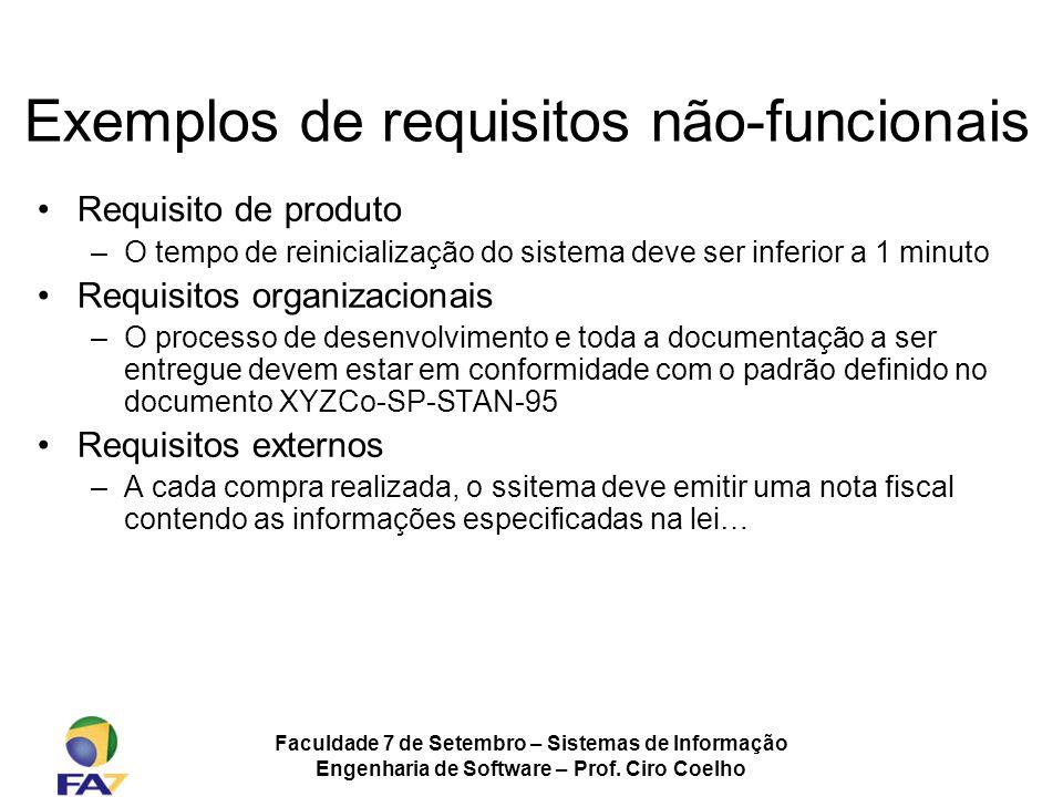 Exemplos de requisitos não-funcionais