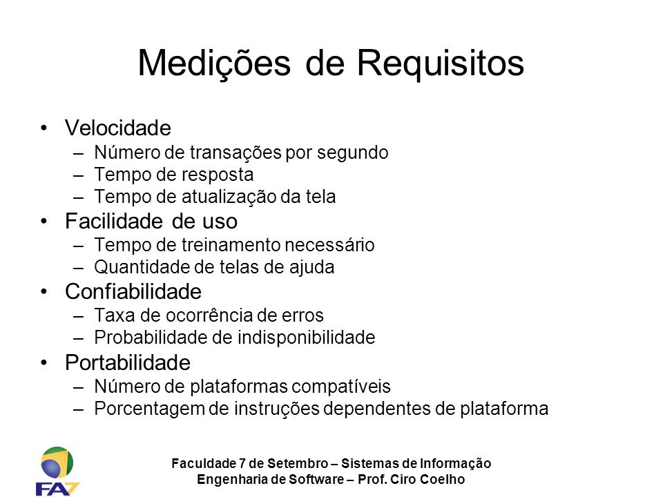 Medições de Requisitos