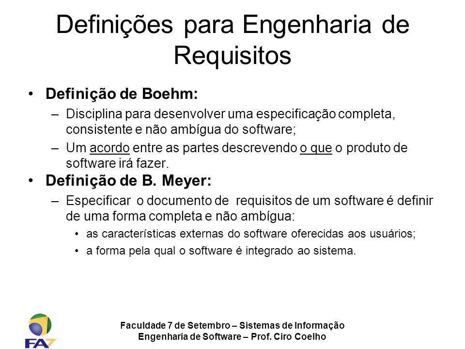 Definições para Engenharia de Requisitos