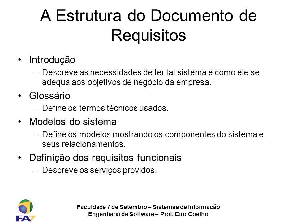 A Estrutura do Documento de Requisitos