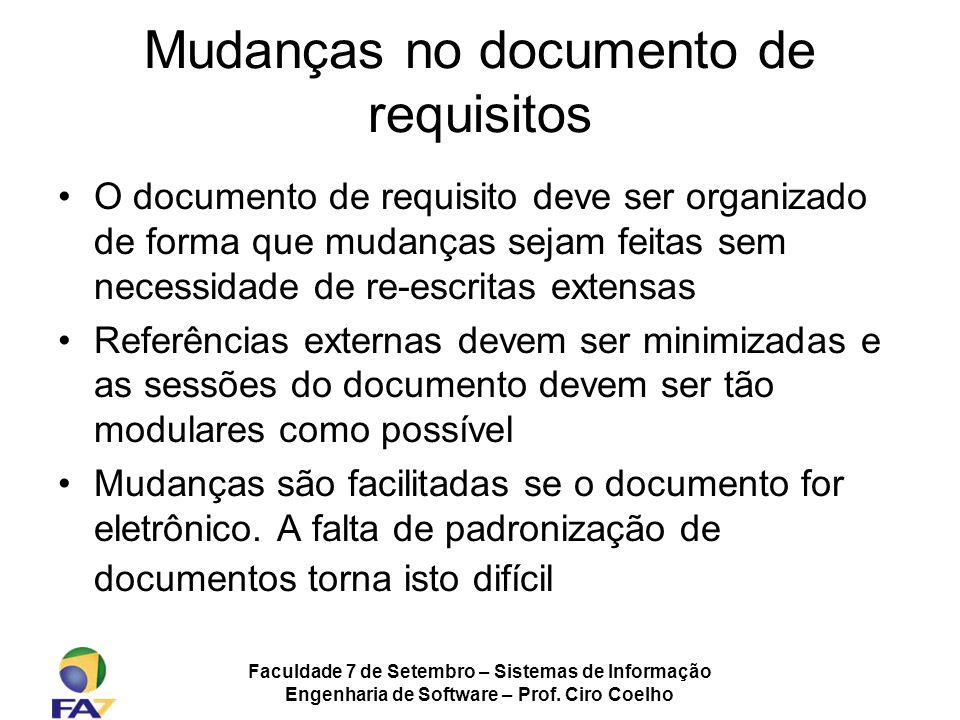 Mudanças no documento de requisitos