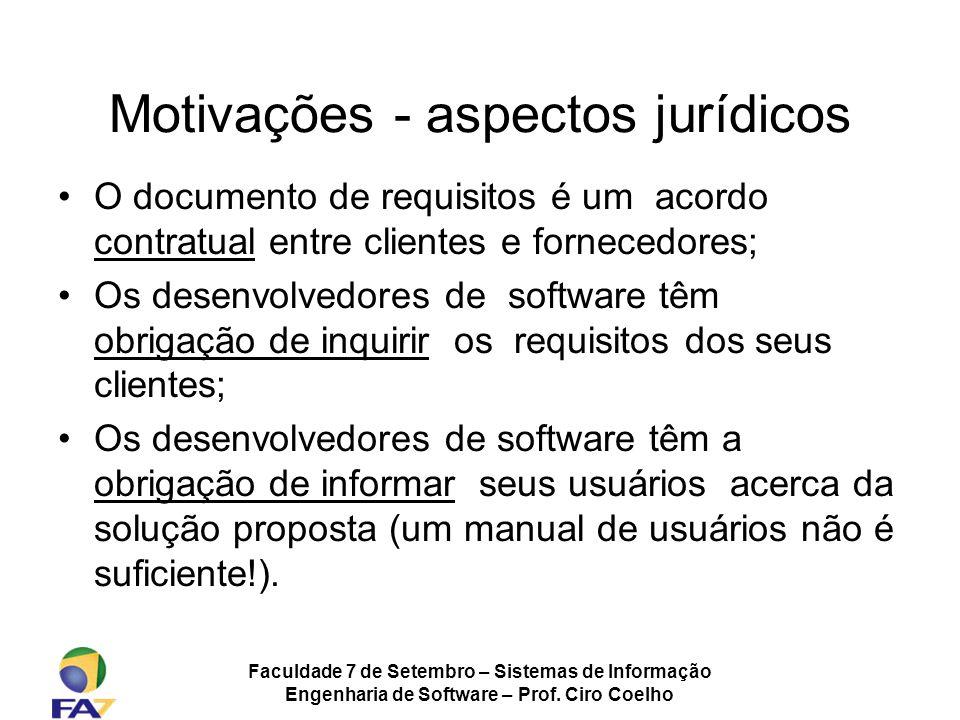Motivações - aspectos jurídicos