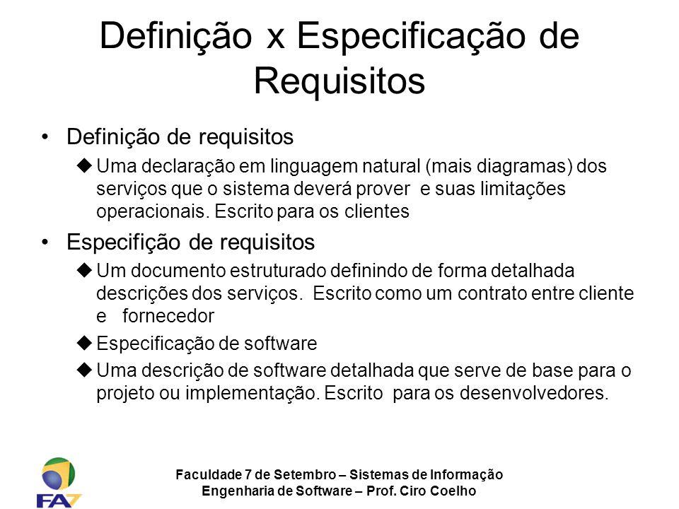 Definição x Especificação de Requisitos