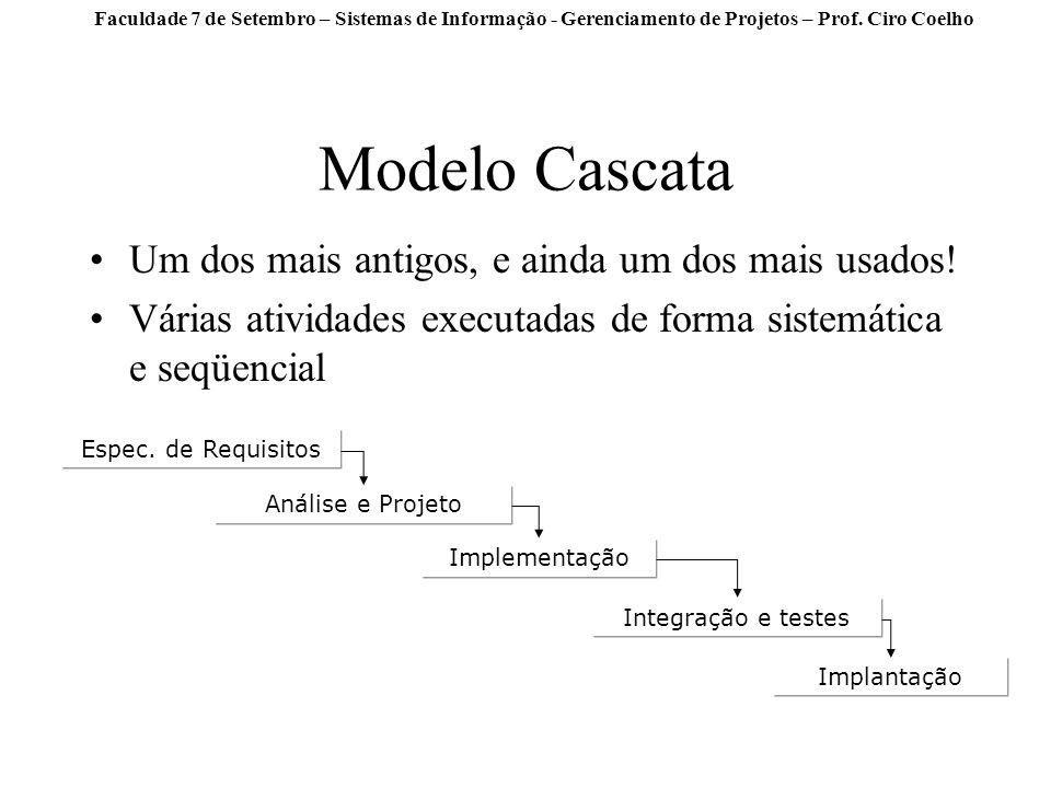 Modelo Cascata Um dos mais antigos, e ainda um dos mais usados!