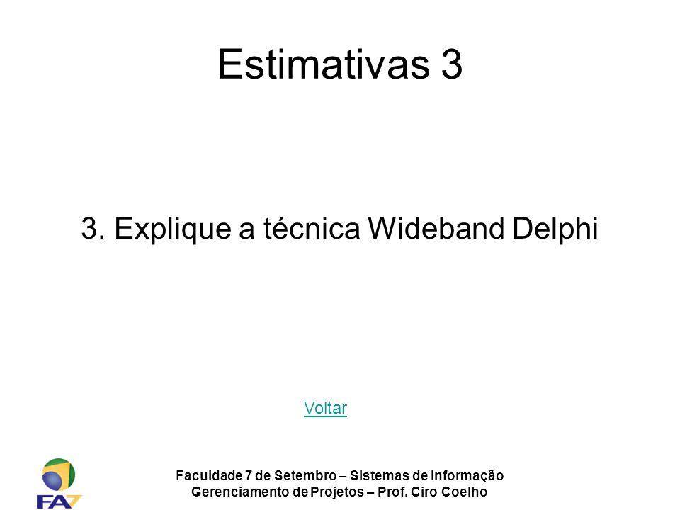 Estimativas 3 3. Explique a técnica Wideband Delphi Voltar