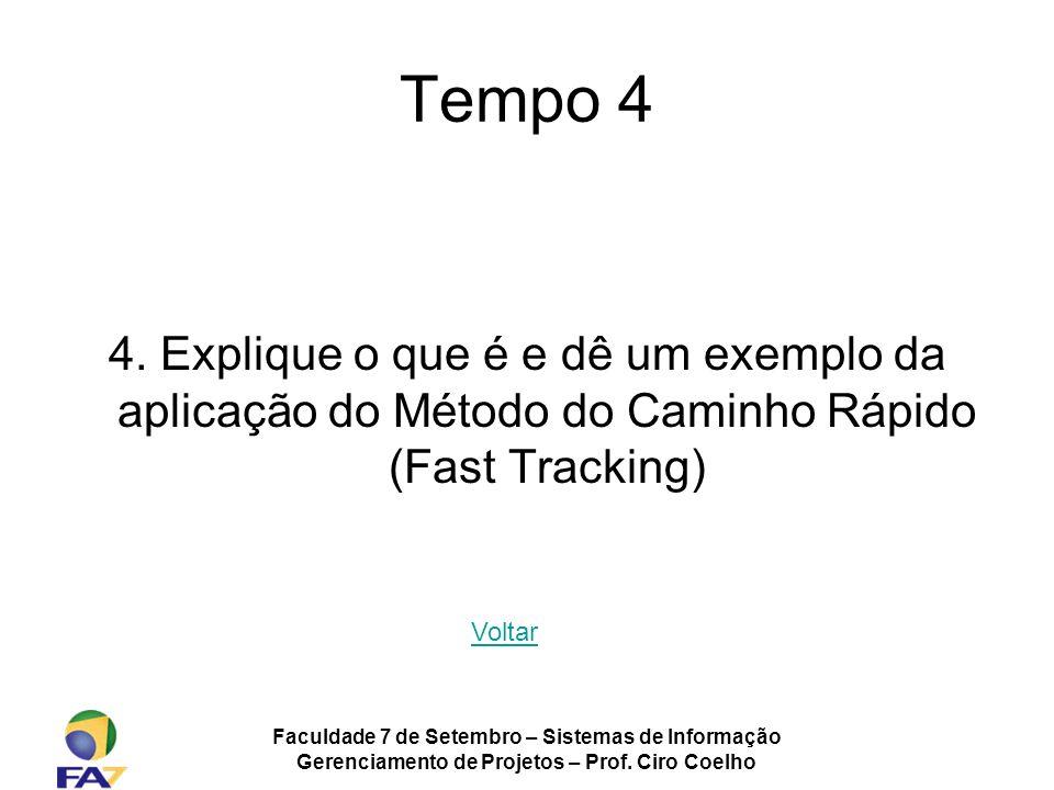 Tempo 4 4. Explique o que é e dê um exemplo da aplicação do Método do Caminho Rápido (Fast Tracking)