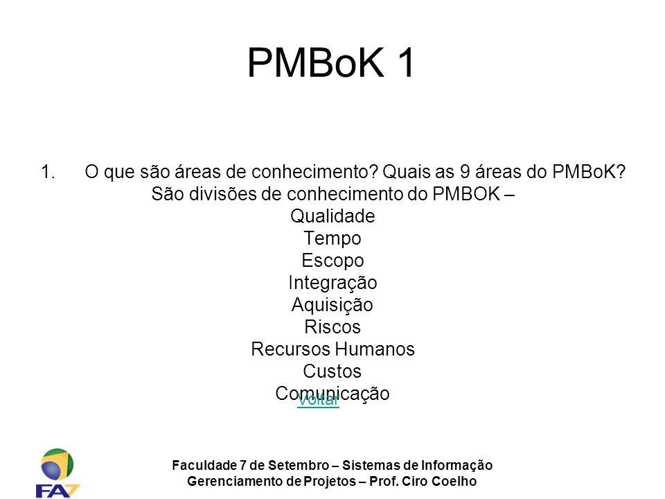 PMBoK 1 O que são áreas de conhecimento Quais as 9 áreas do PMBoK