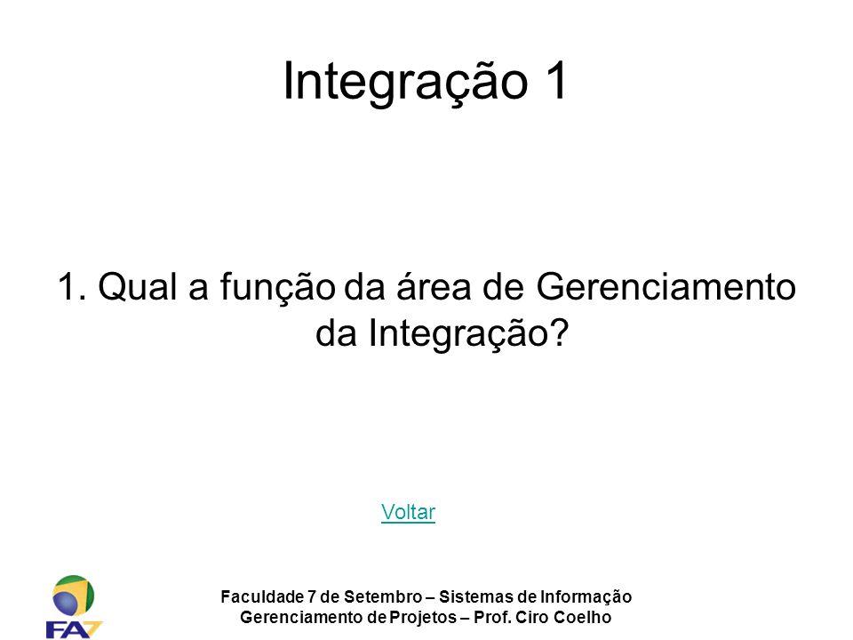 Integração 1 1. Qual a função da área de Gerenciamento da Integração