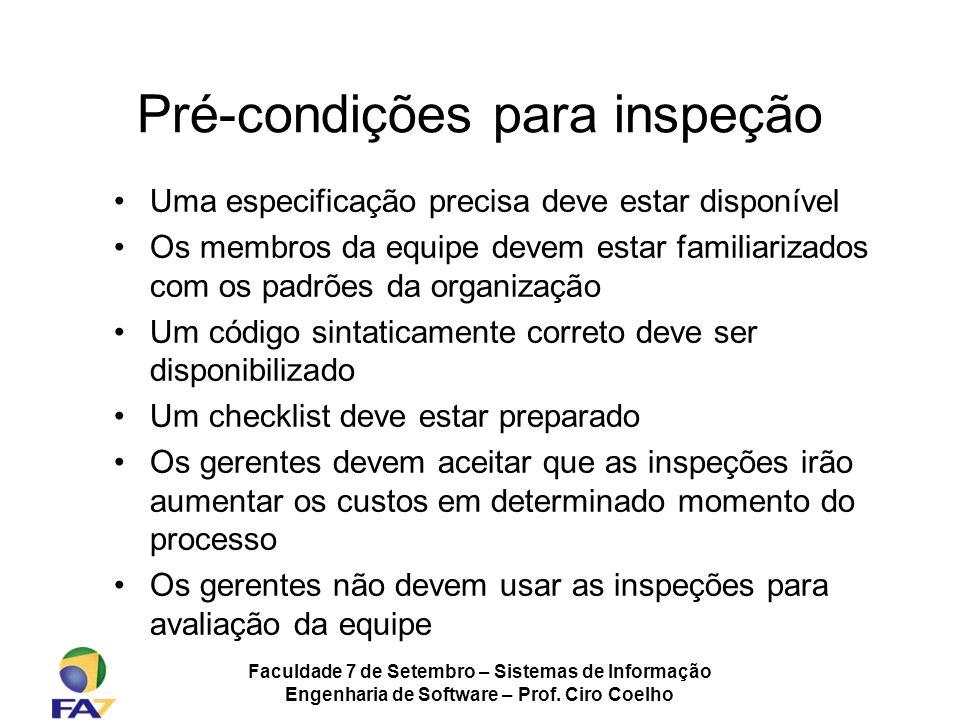 Pré-condições para inspeção