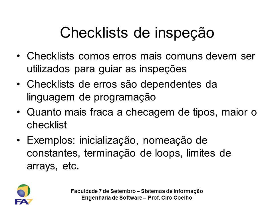 Checklists de inspeção
