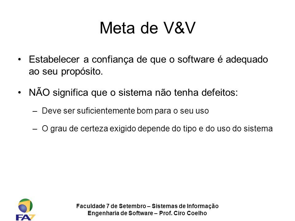 Meta de V&V Estabelecer a confiança de que o software é adequado ao seu propósito. NÃO significa que o sistema não tenha defeitos: