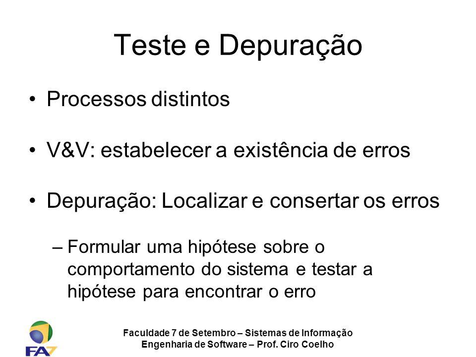 Teste e Depuração Processos distintos