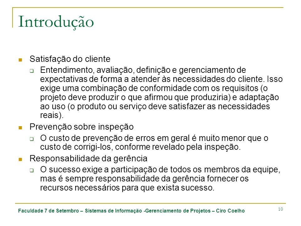 Introdução Satisfação do cliente Prevenção sobre inspeção