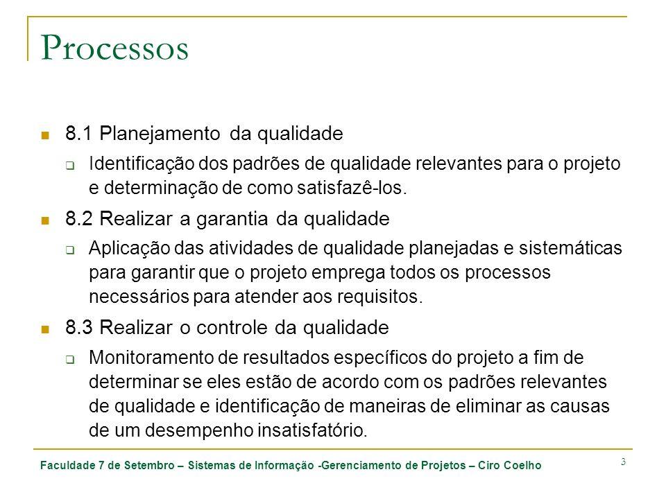 Processos 8.1 Planejamento da qualidade