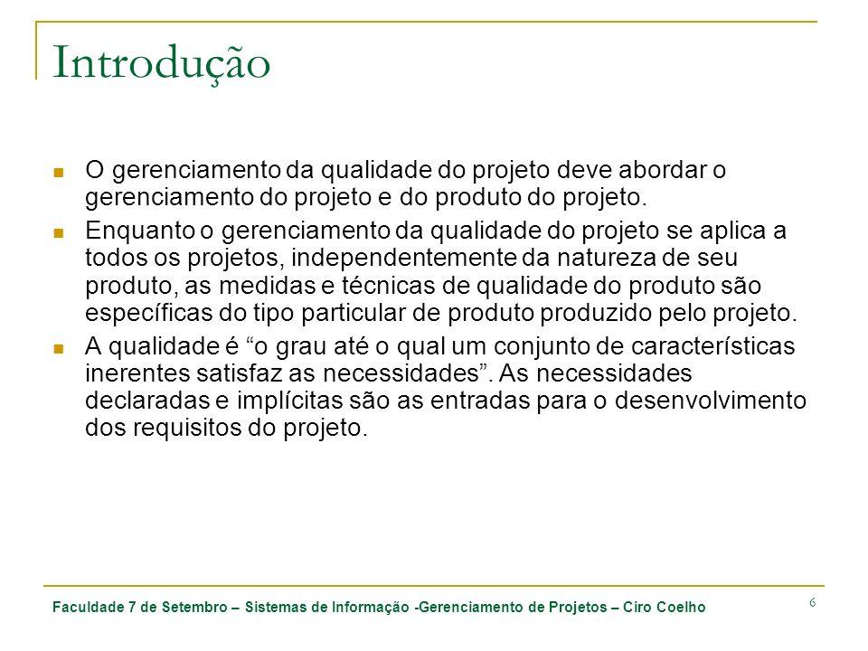 Introdução O gerenciamento da qualidade do projeto deve abordar o gerenciamento do projeto e do produto do projeto.